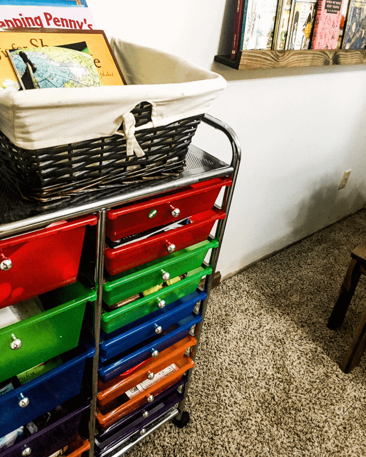 A colorful organizer with art supplies inside.