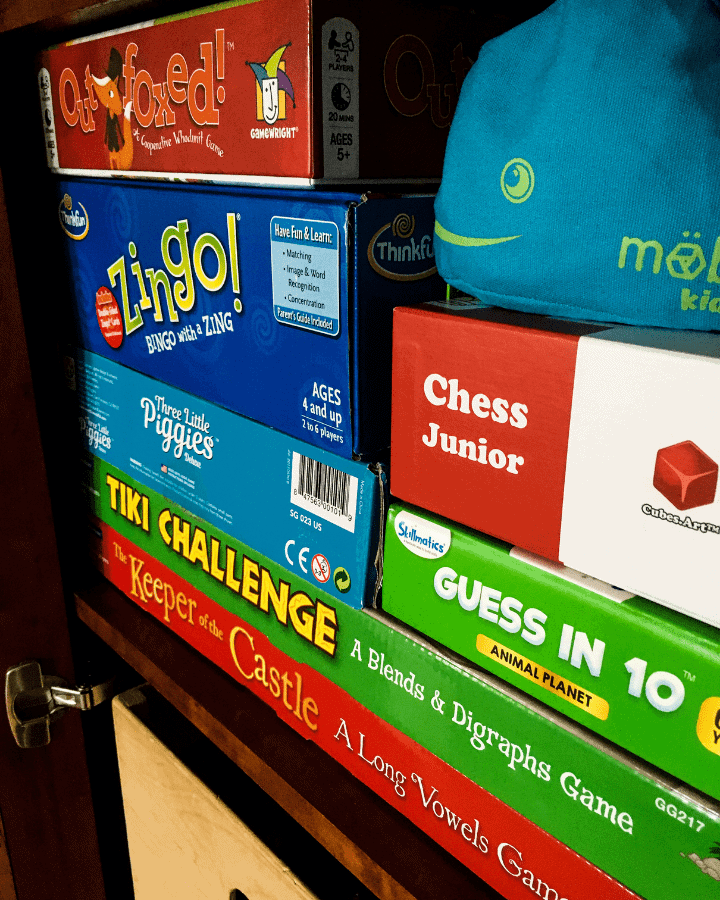 Children's educational games in a cabinet.