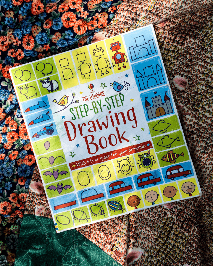 A Step by Step Drawing Book for Kids laying on a blanket.