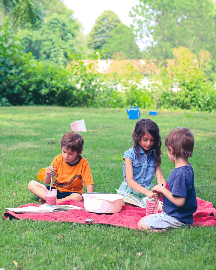 Kids Summer Poetry reading outside for summer poetry tea time.