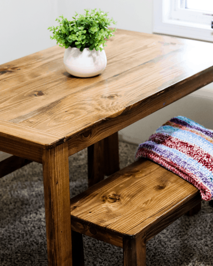 A small dining table created for a small homeschool room.