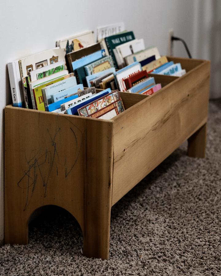 A book bin made for a small homeschool room.
