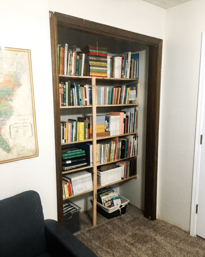 A closet that was turned into a bookshelf for a small homeschool room.