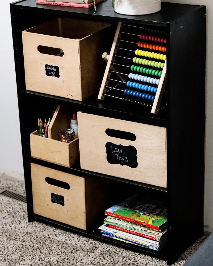 A black organizer for a homeschool room.