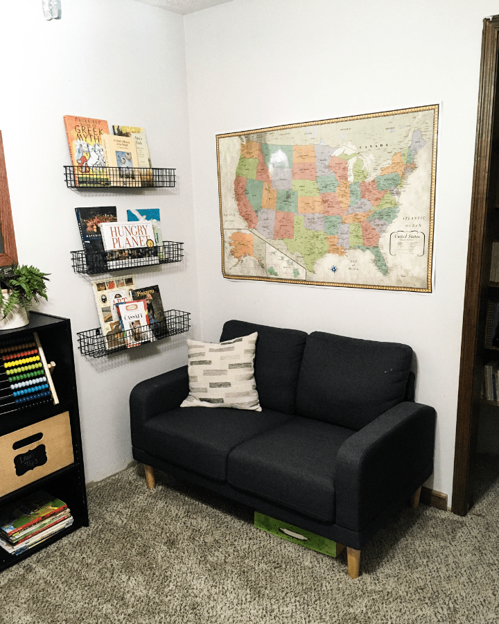 A small couch for a small homeschool room.