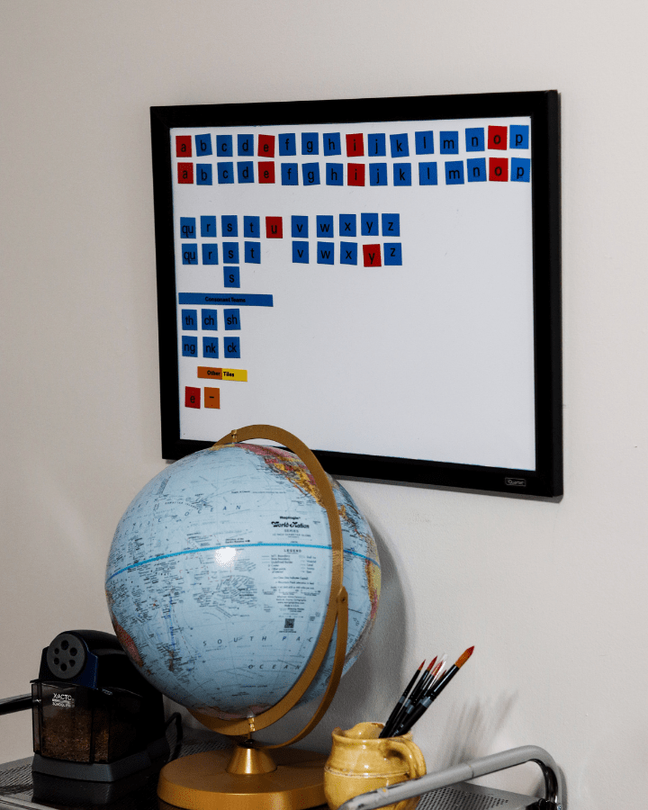 A whiteboard for the All About Reading letter tiles.
