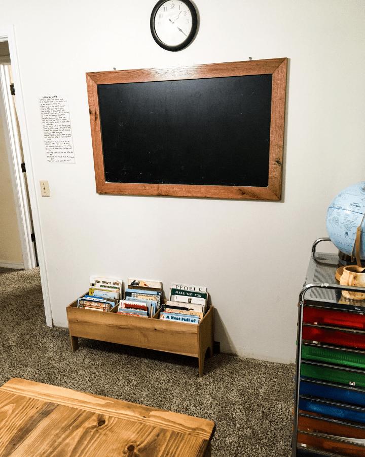 A DIY chalkboard created for a small homeschool room.