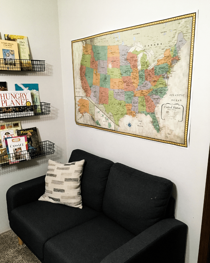 A vintage United States map for homeschool.